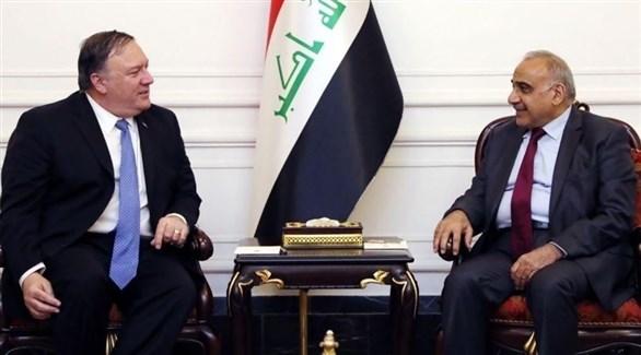 رئيس الوزراء العراقي عادل عبدالمهدي ووزير الخارجية الأمريكي مايك بومبيو (أرشيف)