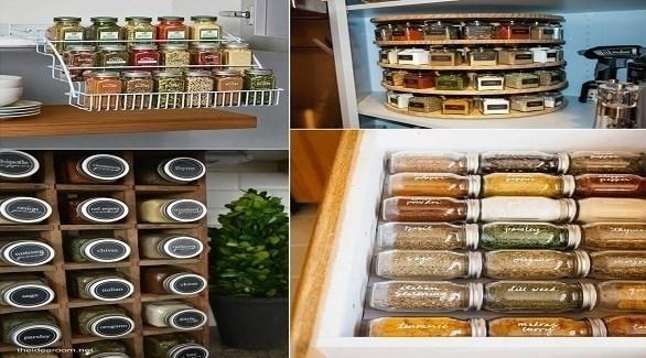 أفكار لتنظيم عبوات التوابل في المطبخ (أميزنغ إنتيرير ديزاين)