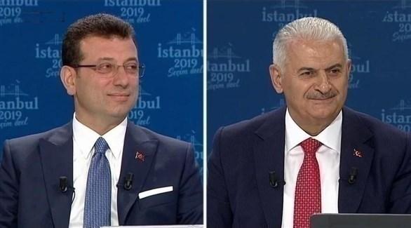 مرشح حزب الرئيس التركي يلدريم ومرشح حزب المعارضة إمام أوغلو (أرشيف)