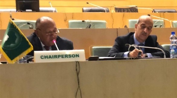 وزير الخارجية المصري سامح شكري متحدثاً في اجتماع أديس أبابا اليوم الخميس (الخارجية المصرية)