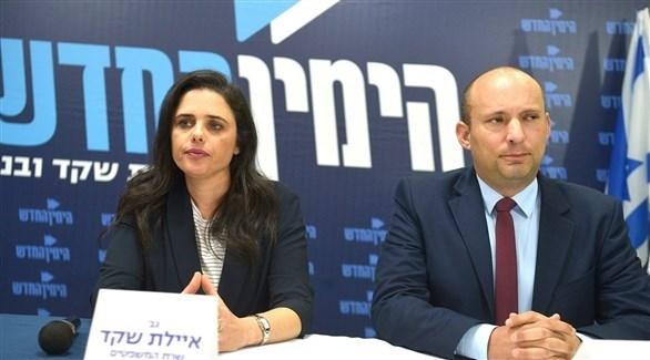 وزيرا التعليم الإسرائيلي نفتالي بينيت والقضاء إيليت شاكيد (أرشيف)