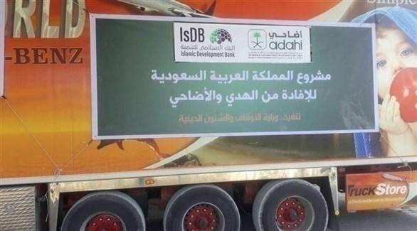شاحنة محملة بلحوم مساعدات مقدمة من السعودية لغزة (أرشيف)