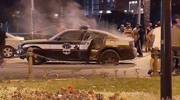 آثار الهجوم المسلح على سيارة قوى الأمن الداخلي في طرابلس (تويتر)