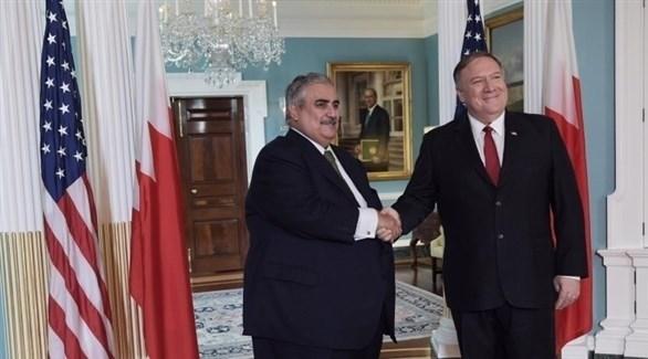 بومبيو مستقبلاً وزير خارجية البحرين (تويتر)