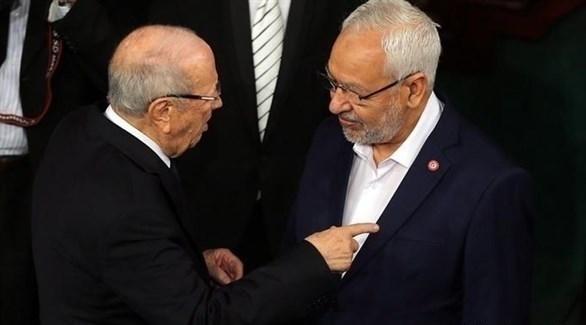 زعيم حركة النهضة الإخوانية بتونس راشد الغنونشي والباجي قايد السبسي (أرشيف)