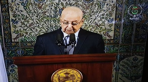 الرئيس الجزائري الانتقالي عبد القادر بن صالح ( التلفزيون الجزائري)