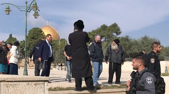 عضو الكنيست المتطرف يهودا غليك قرب الأقصى (أرشيف)