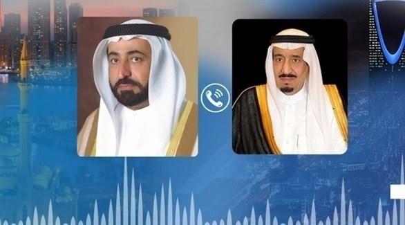 الملك سلمان بن عبد العزيز وحاكم الشارقة الشيخ سلطان القاسمي (وام)
