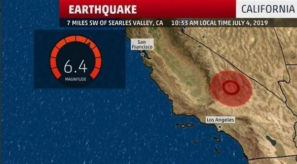 موقع الزلزال الذي ضرب كاليفورنيا هيئة المسح الجيولوجي الأمريكية (تويتر)