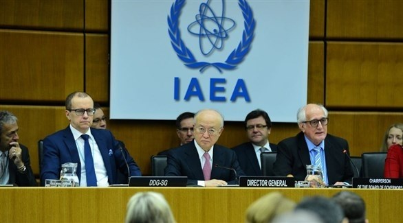 مدير عام  الوكالة الدولة للطاقة الذرية يوكيا أمانو وبعض مسؤولي المنظمة الدولية (أ ب)