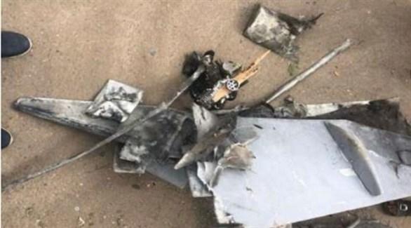 حطام طائرة حوثية دون طيار بعد إسقاطها في عملية سابقة (أرشيف)