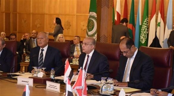 وزير خارجية العراق خلال إلقاء كلمته (الجامعة العربية)
