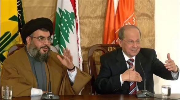 الرئيس اللبناني ميشال عون وزعيم ميليشيا حزب الله حسن نصر الله (أرشيف)