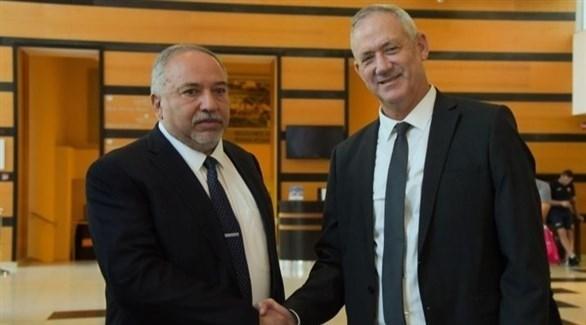 رئيسا حزب أزرق أبيض بيني غانتس وحزب إسرائيل بيتنا أفيغدور ليبرمان (أرشيف)