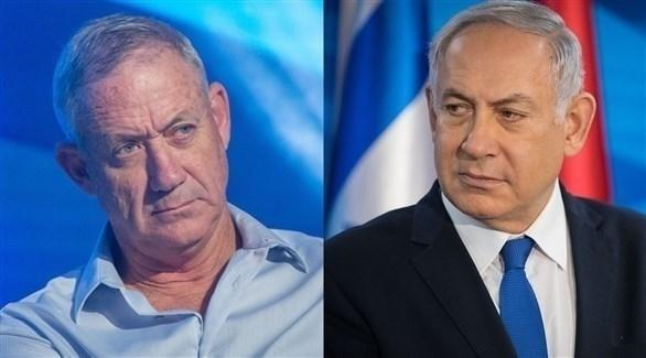 رئيس الوزراء الإسرائيلي بنيامين نتانياهو وزعيم حزب أبيض أزرق بيني غانتس (أرشيف)