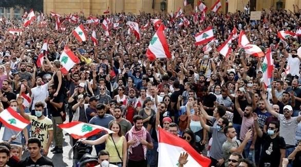 جانب من تظاهرات لبنان (تويتر)