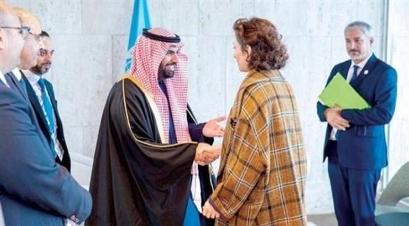 وزير الثقافة السعودي لدى لقائه المديرة العامة لـ