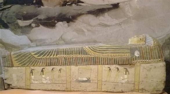 أحد توابيت البعثة الفرنسية المكتشفة اليوم في مصر (تويتر)