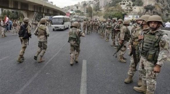 قوة من جنود الجيش اللبناني خلال الاحتجاجات (أرشيف)