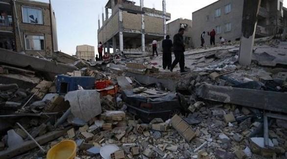 خراب في مبان جراء زلزال سابق في إيران (أرشيف)