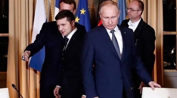 جانب من اجتماع بوتين وزيلينسكي في فرنسا (روسيا اليوم)