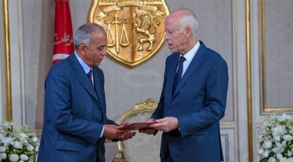 الرئيس التونسي قيس سعيد ورئيس الحكومة المكلف الجملي (أرشيف)