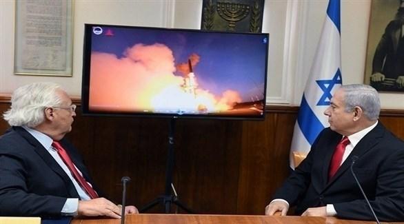 رئيس الوزراء الإسرائيلي والسفير الأمريكي لدى إسرائيل يشاهدان اعتراض صاروخ Arrow-3 صواريخ باليستية (تويتر)