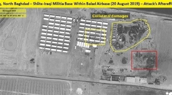 صورة جوية توضح آثار ضربة جوية على قاعدة عراقية في بغداد (تويتر)