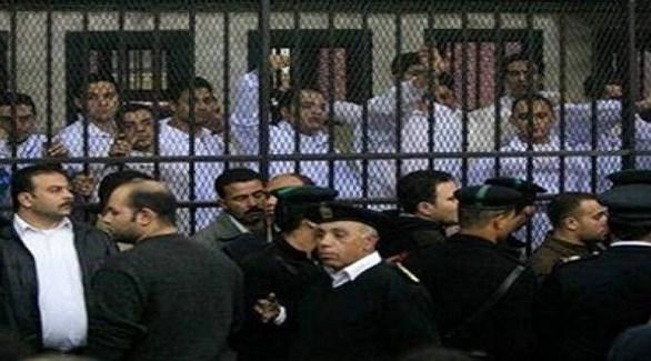 أعضاء خلية إخوانية في قفص الاتهام أثناء محاكمتهم (أرشيف)