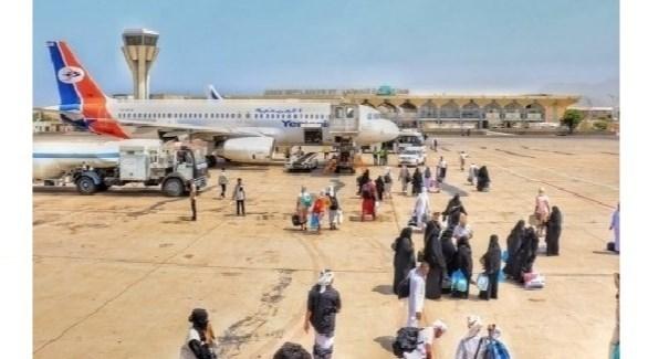 حجاج يمنيون بعد عودتهم إلى عدن اليوم الأحد (اليوم الثامن)