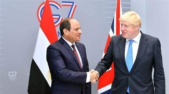 الرئيس المصري عبد الفتاح السيسي ورئيس الوزراء البريطاني بوريس جونسون (أرشيف)
