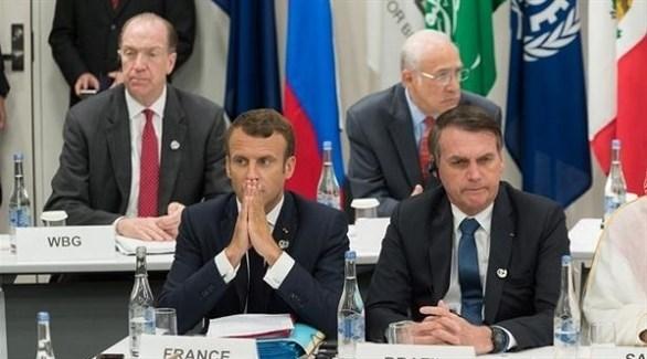الرئيسان البرازيلي جايير بولسونارو والفرنسي إيمانويل ماكرون (أرشيف)