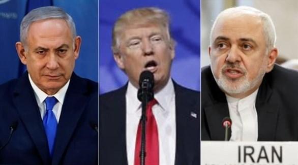 وزير الخارجية الإيراني ظريف والرئيس الأمريكي ترامب ورئيس الوزراء الإسرائيلي نتانياهو (أرشيف)