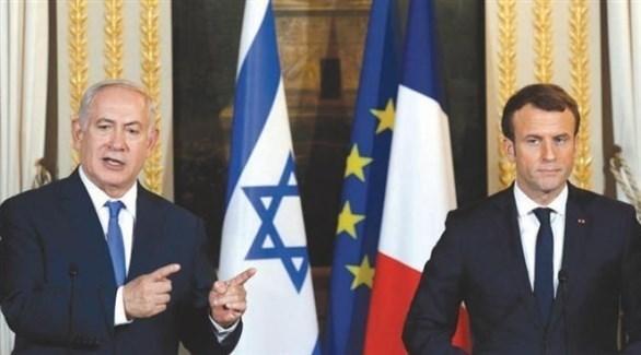 الرئيس الفرنسي إيمانويل ماكرون ورئيس الحكومة الإسرائيلية بنيامين نتانياهو (أرشيف)
