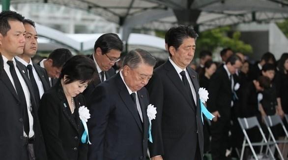 ئيس الوزراء الياباني شينزو آبي خلال مراسم تأبين الذكرى 74 لضحايا القنابل الذرية في هيروشيما (أ ف ب)
