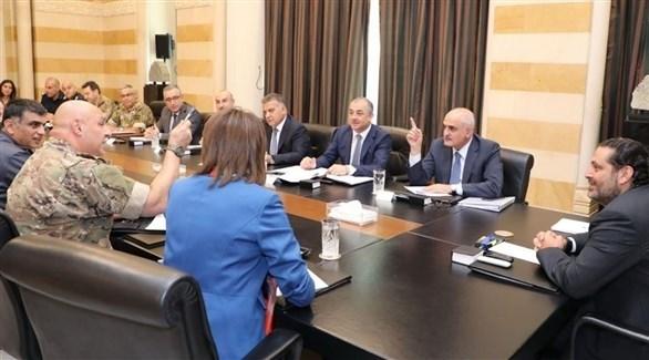 وزير الدفاع اللبناني إلياس بو صعب في الاجتماع الوزراي برئاسة سعد الحريري(تويتر)