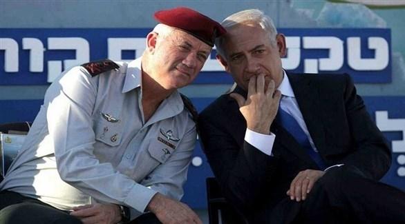 رئيس الوزراء الإسرائيلي بنيامين نتانياهو ورئيس الأركان السابق بيني غانتس (أرشيف)