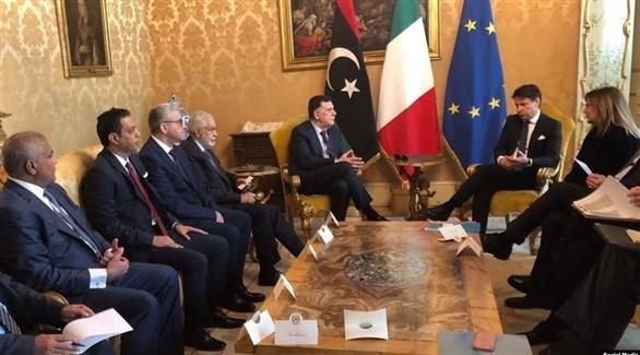 رئيس الوزراء الإيطالي كونتي ورئيس المجلس الرئاسي لحكومة الوفاق فايز السراج (أرشيف)