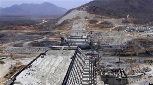 لقطة من عملية إنشاء سد النهضة الإثيوبي (أف ب)
