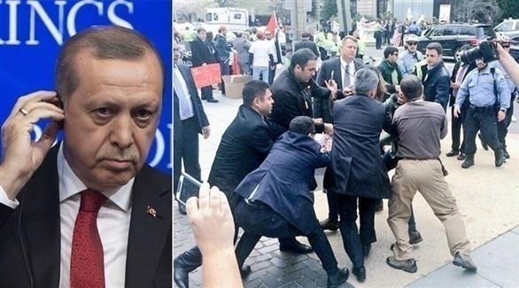 حراس أردوغان يعتدون على متظاهرين في واشنطن (زمان التركية)
