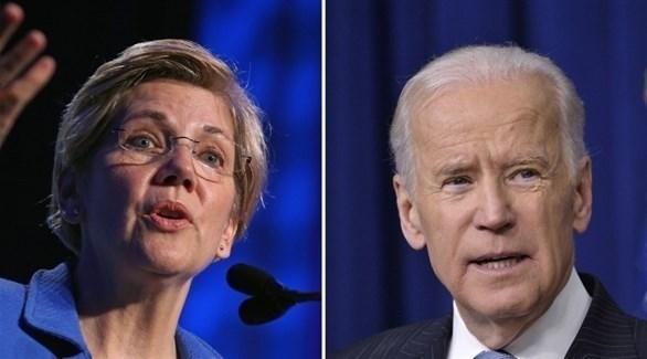 نائب الرئيس الأمريكي السابق جو بايدن والسيناتورة الديمقراطية إليزابيث وورن (أرشيف)
