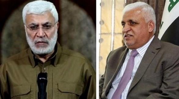 رئيس هيئة الحشد الشعبي الفياض، ونائب رئيس الهيئة أبو مهدي المهندس (أرشيف)