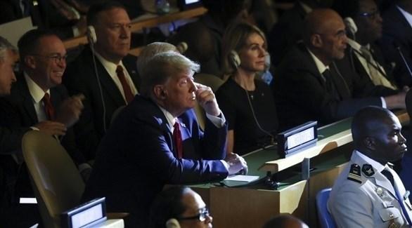 الرئيس الأمريكي دونالد ترامب في قمة الأمم المتحدة حول المناخ في نيويورك (أ ف ب)