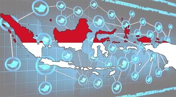 شبكة الانترنت على خلفية خريطة لأندونيسيا (تعبيرية)