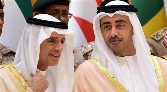 وزير الخارجية الإماراتي الشيخ عبدالله بن زايد ووزير الدولة السعودي للشؤون الخارجية الجبير (أرشيف)