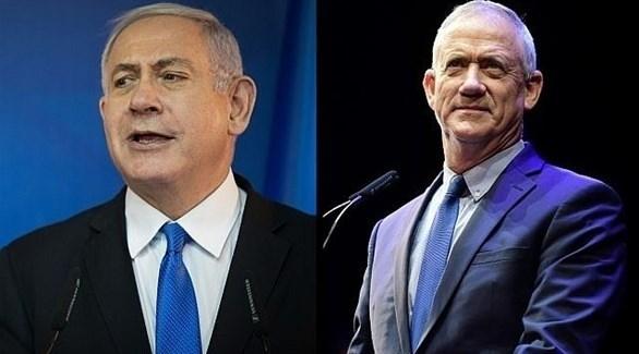 زعيم قائمة أزرق أبيض بني غانتس (يمين) وخصمه زعيم حزب الليكود بنيامين نتانياهو (أرشيف)