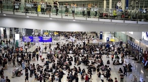 تظاهرات سابقة في مطار هونغ كونغ (أرشيف)