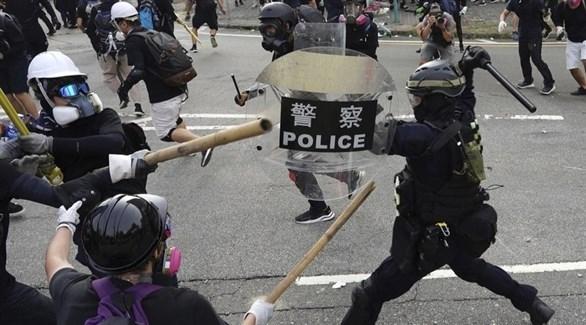 جانب من الاشتباكات بين الشرطة والمتظاهرين في هونغ كونغ (أرشيف)