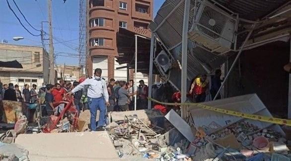 جانب من الأضرار الذي خلفه التفجير (تسنيم)