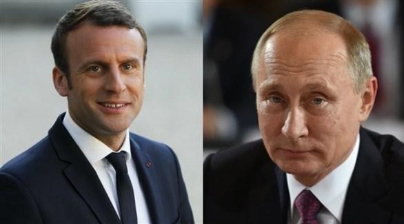 الرئيس الروسي بوتين ونظيره الفرنسي ماكرون (أرشيف)